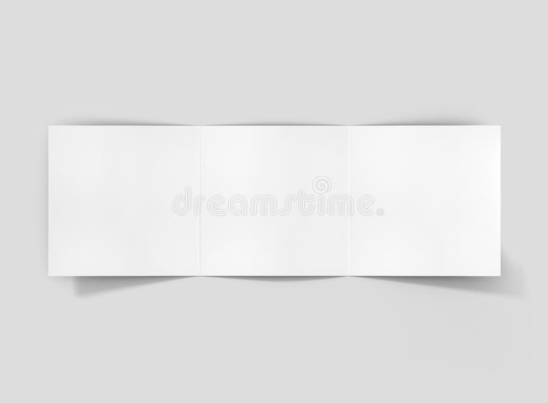 Photorealistic Square Trifold Brochure Mockup On Light Grey     Download Photorealistic Square Trifold Brochure Mockup On Light Grey  Background  Stock Image   Image of