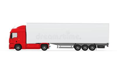 Red Cargo Delivery Truck stock photo. Image of diesel - 38504906