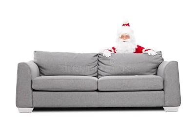 Santa Claus Hiding Behind A Sofa Stock Image - Image of hidden, glasses: 46697333