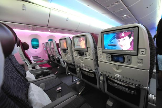 Ious And Comfortable Economy Class Cabin Of Qatar Airways Boeing 787 8 Dreamliner At
