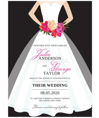 Wedding Invitation Card With Wedding Dress Stock Vector ...