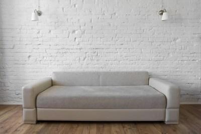 White Brick Wall Wooden Floor Beige Sofa Loft Stock Photo - Image of room, wall: 67884332