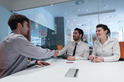 Young Couple Signing Contract Documents On Partners Back Stock Image - Image of employment ...