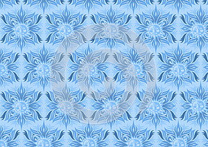 Blue floral background with sun element design
