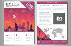 Travel Brochure Design With Famous Landmarks And World Map  Template     Vector Travel brochure design with famous landmarks and world map  Template  for Travel and Tourism Business