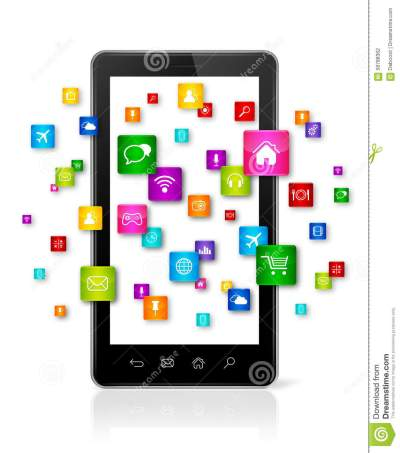 Apps Icons Flying Around Mobile Phone Stock Illustration - Illustration of computing, internet ...
