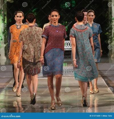 Asian Female Model Wearing Batik At Fashion Show Runway ...
