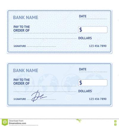 Bank Check Template Set. Vector Stock Vector - Illustration of currency, border: 73200863