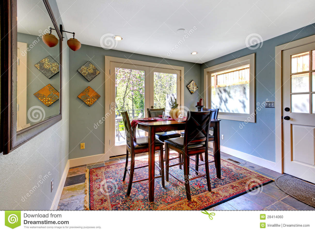Blue Dining Room With Red Rug And High Table