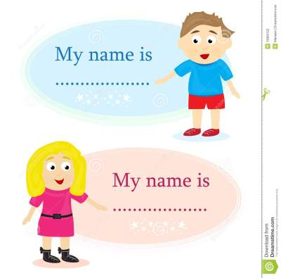 Boy And Girl With Name Card Stock Illustration - Illustration of name, presenting: 19060122