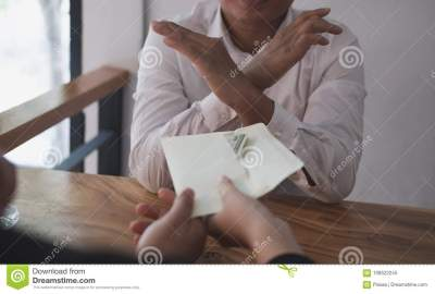 Businessman Rejecting Money Cash Banknote From Business People. Stock Image - Image of honest ...