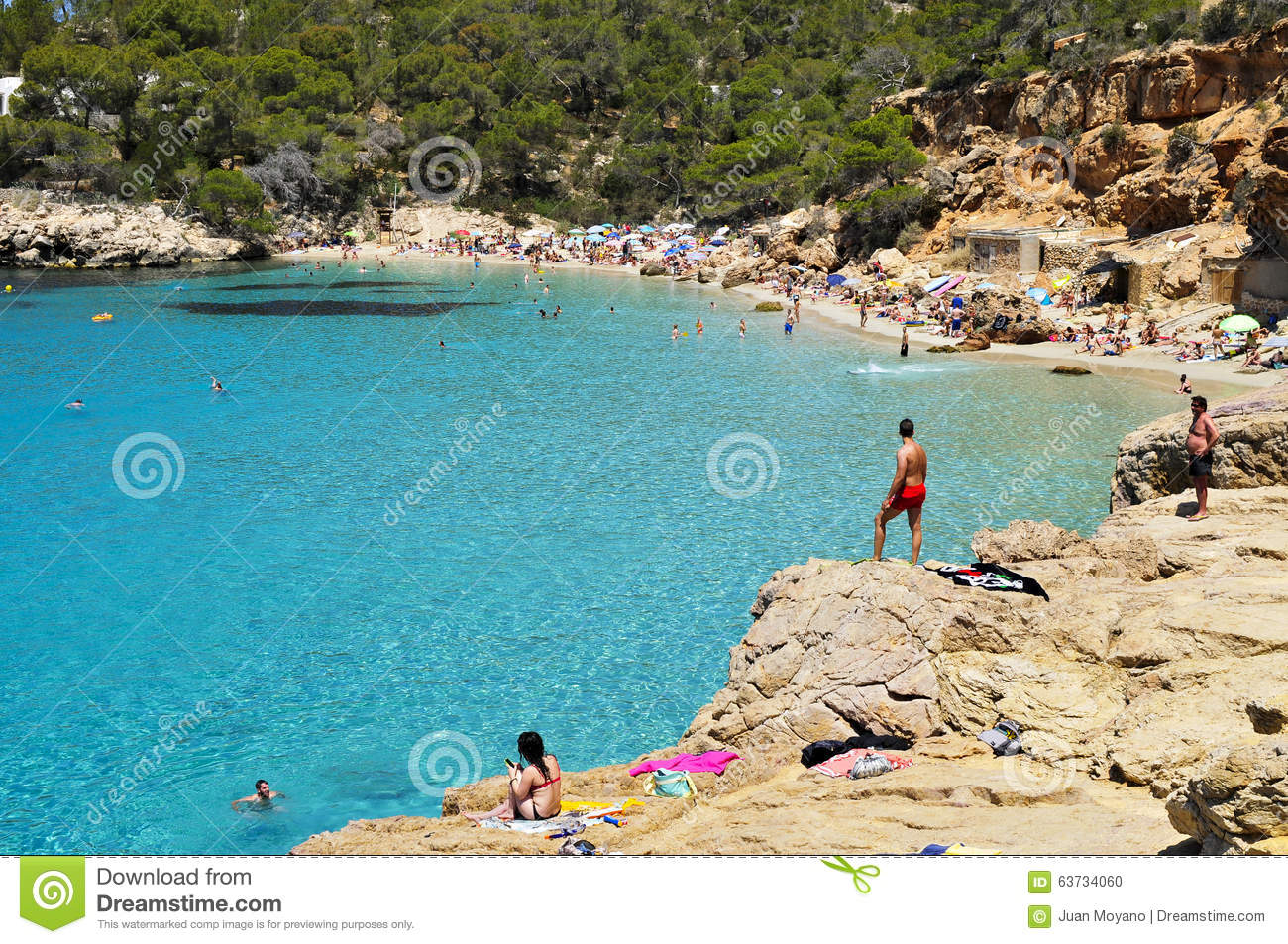 Cala Salada Beach In San Antonio  In Ibiza Island  Spain Editorial     Download Cala Salada Beach In San Antonio  In Ibiza Island  Spain Editorial  Image
