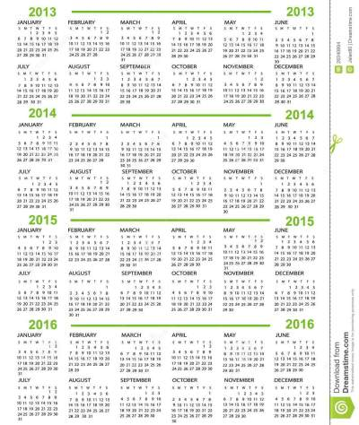 Calendar, New Year 2013, 2014, 2015, 2016 Stock Images - Image: 26340894