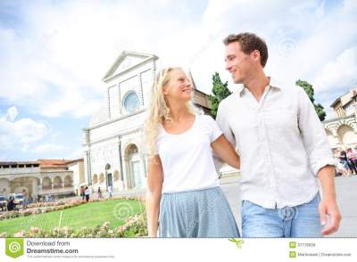 Couple Lifestyle Europe Travel In Florence, Italy Stock ...