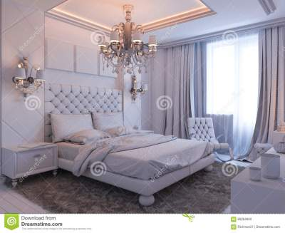 3d Render Of Bedroom Interior Design In A Modern Classic Style. Stock Illustration ...