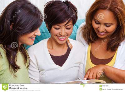 Diverse Group Of Women Reading And Talking. Stock Image - Image of togetherness, christian: 91845381