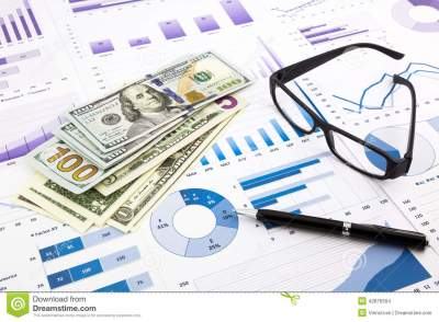 Dollar Currency On Graphs, Financial Planning And Expense Report Stock Photo - Image: 42876504