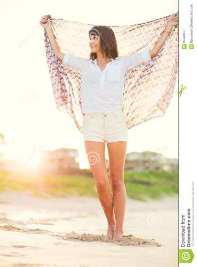 Fashion Lifestyle, Beautiful Young Woman On The Beach At ...