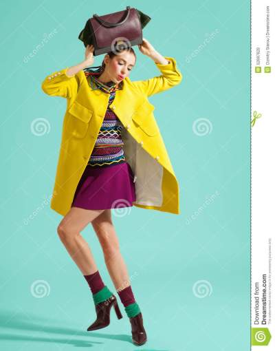 Fashion Model Pose On Light Background Stock Photo - Image ...
