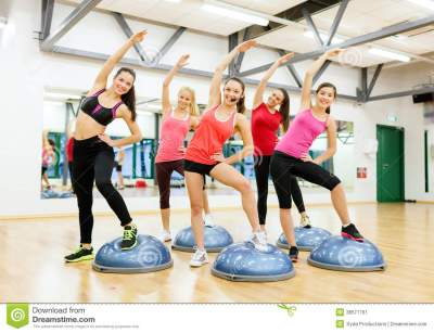 Group Of Female Doing Aerobics With Half Ball Stock Image ...