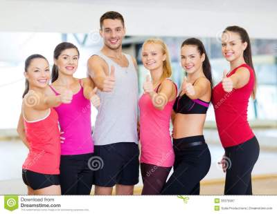 Group Of People In The Gym Showing Thumbs Up Royalty Free ...