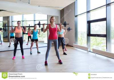 Group Of Women Excercising With Bars In Gym Stock Photo ...