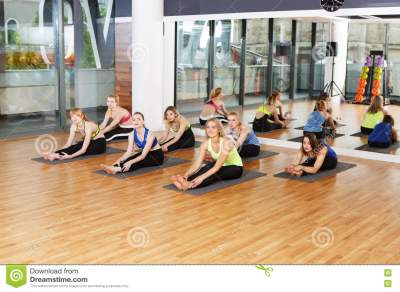 Group Of Young Women In Yoga Class Stock Photo - Image ...