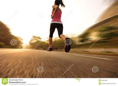 Healthy Lifestyle Fitness Sports Woman Running Leg Stock ...