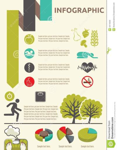 Healthy Lifestyle Infographic Stock Vector - Image: 43116535