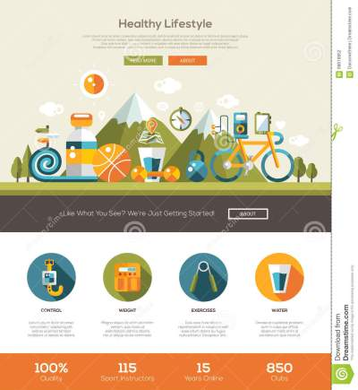 Healthy Lifestyle Website Template With Header And Icons ...
