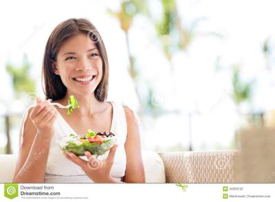 Healthy Lifestyle Woman Eating Salad Smiling Happy Stock ...