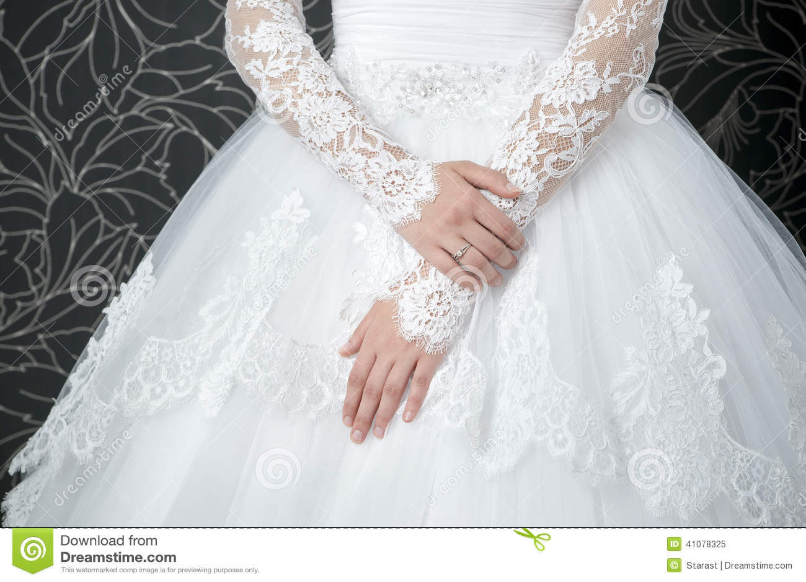royalty free stock photos wedding white dress lace brides back image all white wedding dress Lace white wedding dress with long sleeves Royalty Free Stock Photo