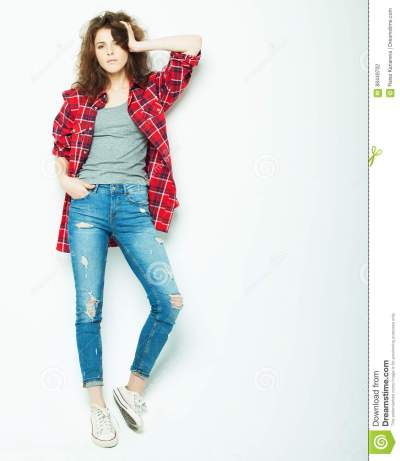 Lifestyle, Fashion And People Concept: Full Body Young ...