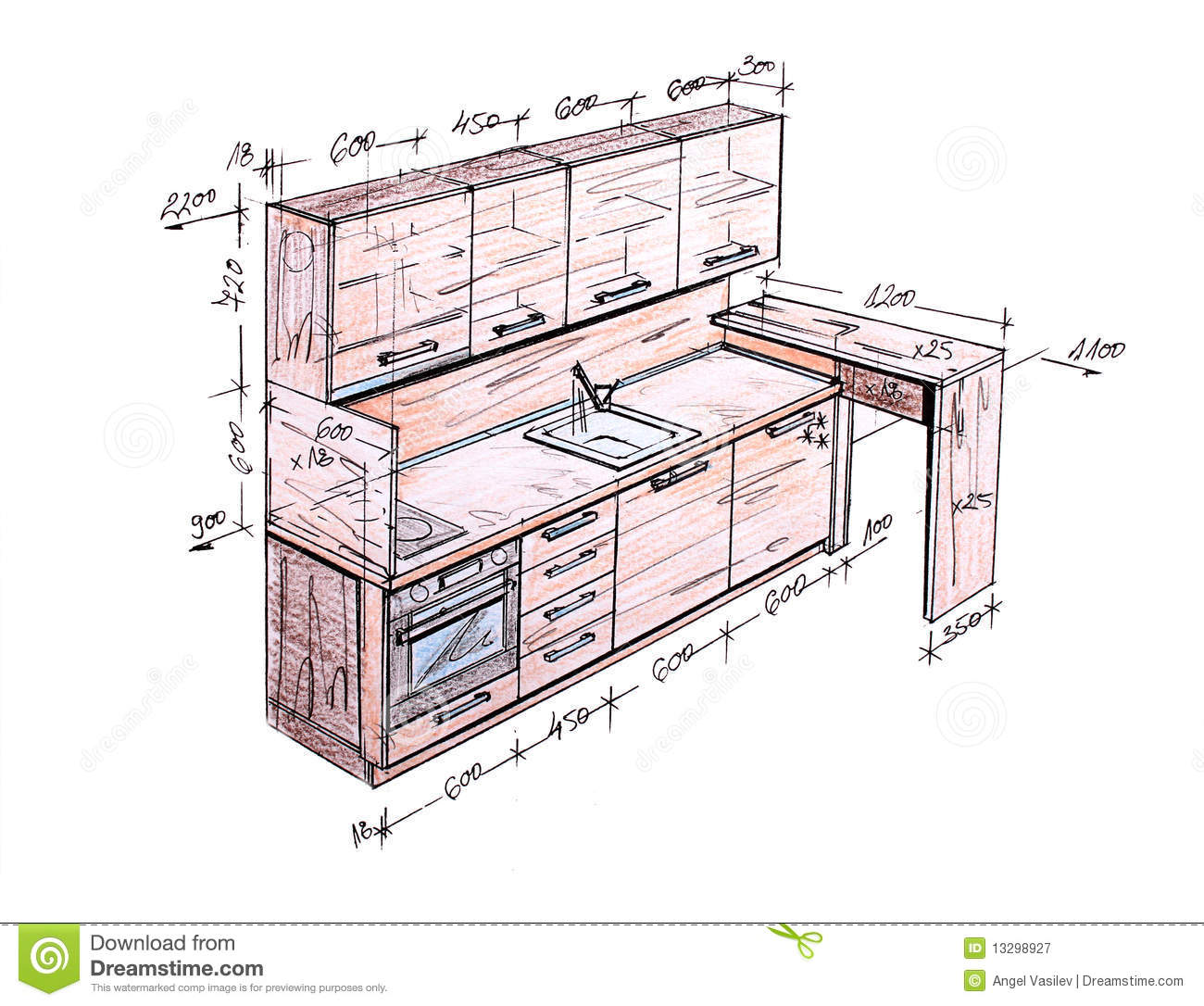 Design Drawing Drawn Freehand Furniture Hand Illustration Interior Isolated Kitchen C