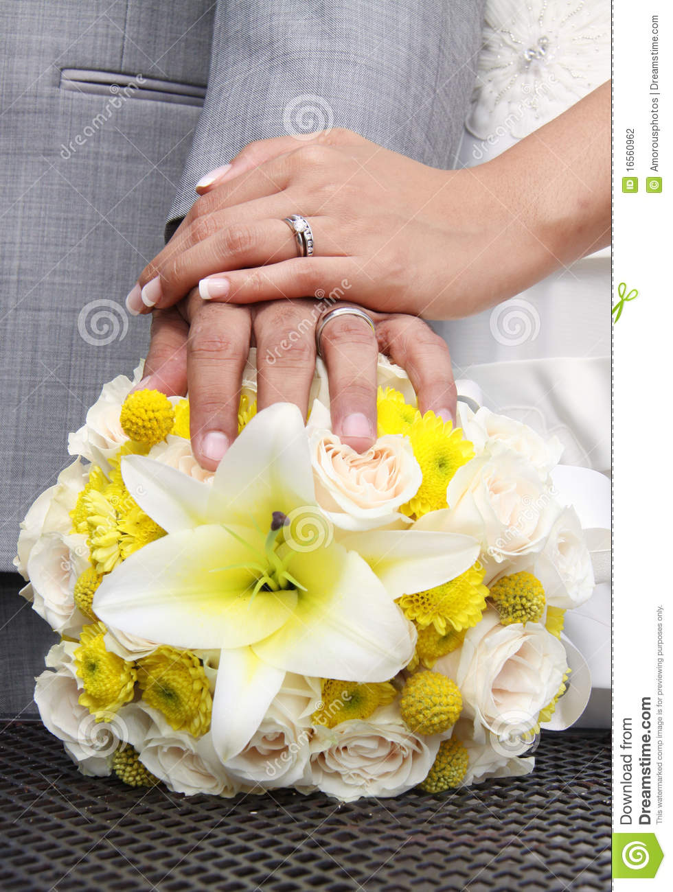 stock photography modern wedding hands rings flowers image modern wedding rings Modern Wedding hands and rings on flowers