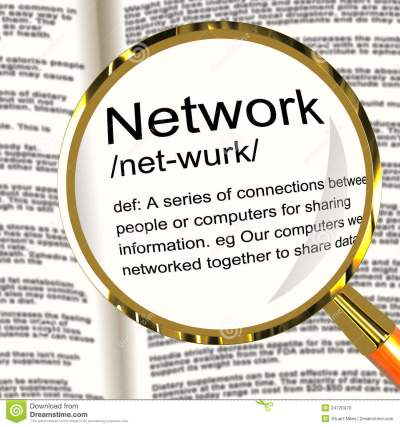 Network Definition Magnifier Showing System Of Computers Or Peop Stock Illustration ...