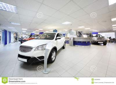 New Shining Beautiful Cars Stand Near Desk Reception Stock Image - Image of interior, indoors ...