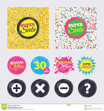 Plus And Minus Icons. Question FAQ Symbol. Cartoon Vector | CartoonDealer.com #92773535