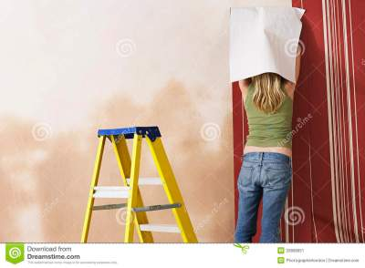 Rear View Of Woman Hanging Wallpaper Stock Image - Image: 33898651