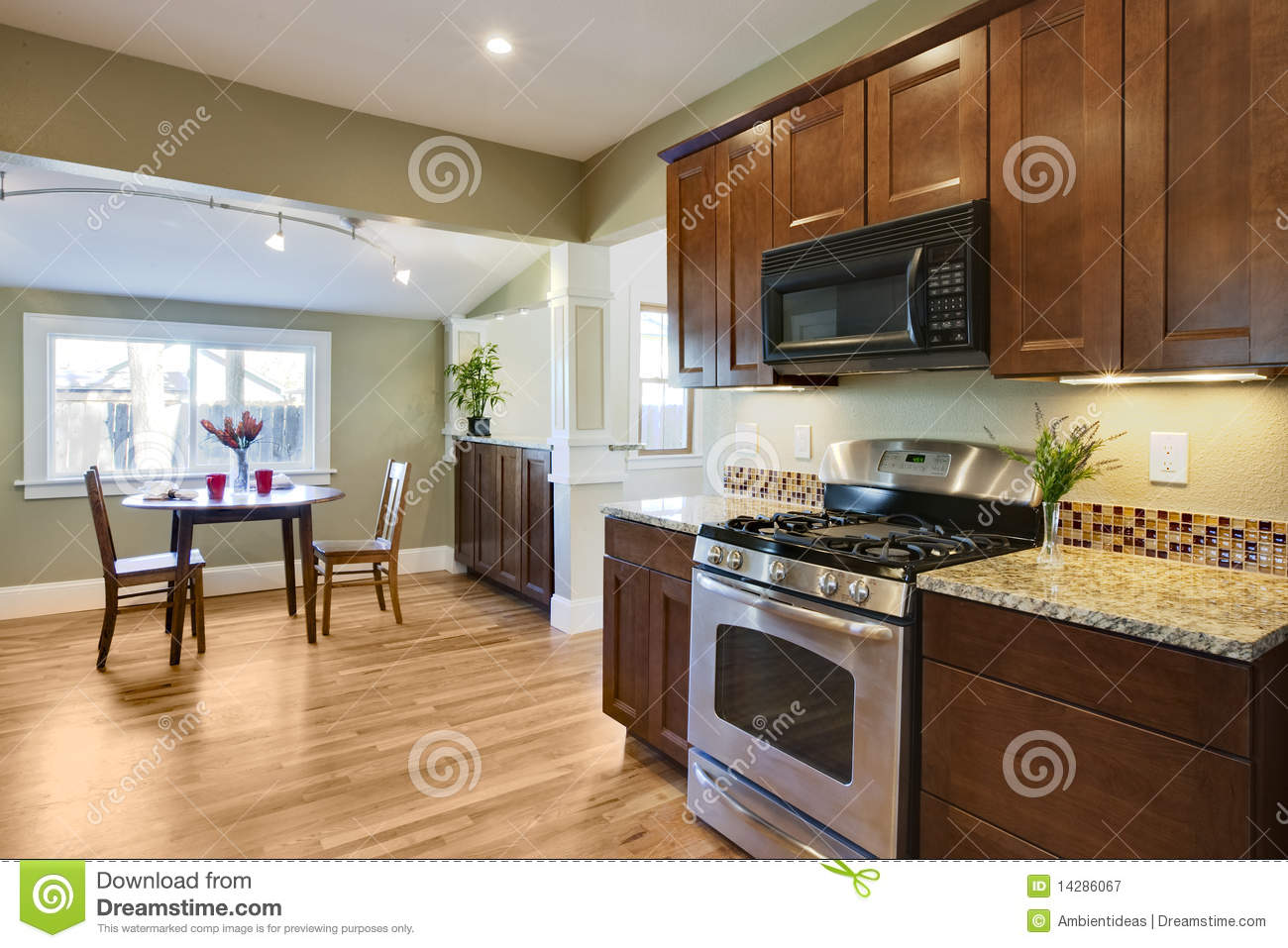 royalty free stock photography remodel kitchen wood flooring image wood floor kitchen Remodel kitchen with wood flooring
