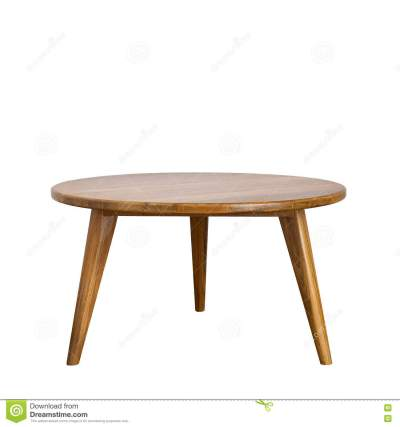 Round Table With Wooden Legs On A White Background Stock Illustration - Illustration of legs ...