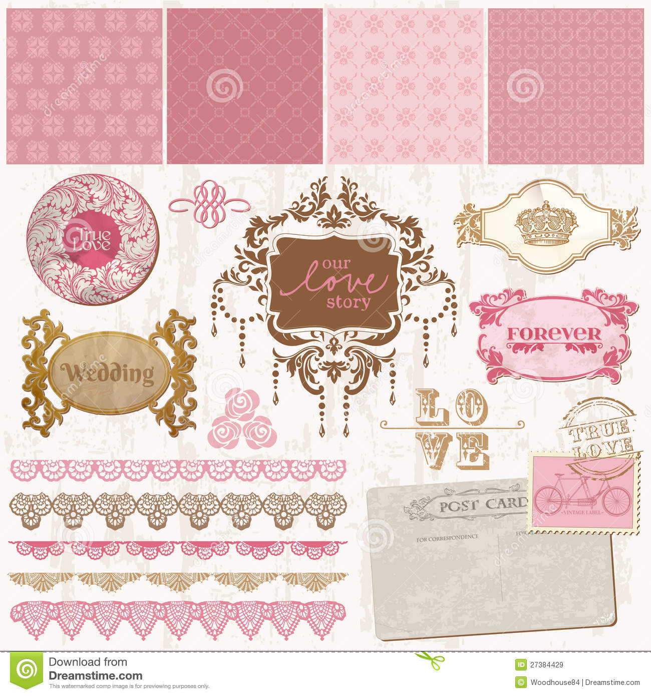 stock photos wedding scrapbook page 12 12 layout image wedding scrapbook Scrapbook design elements Vintage Wedding Set Royalty Free Stock Images