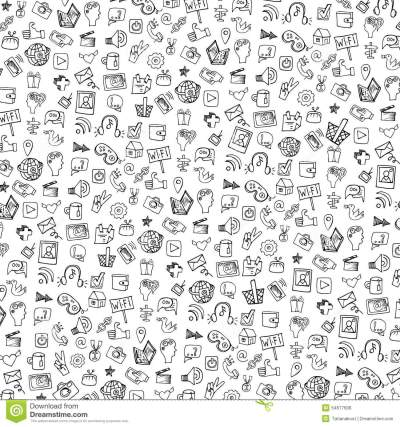 Social Media Icon Pattern,background.Doodle Stock Vector - Image: 54677606