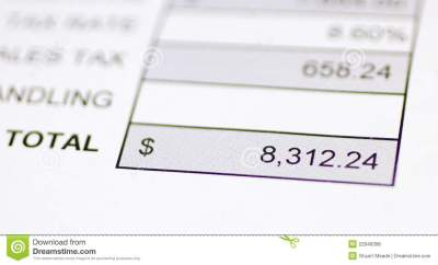 Total money due stock photo. Image of receipt, billing - 22946398