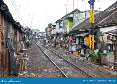 Unidentified Poor People Living In Slum, Indonesia. Stock ...