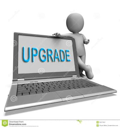 Upgrade Laptop Means Improve Upgrading Or Updating Royalty Free Stock Photography - Image: 34211507