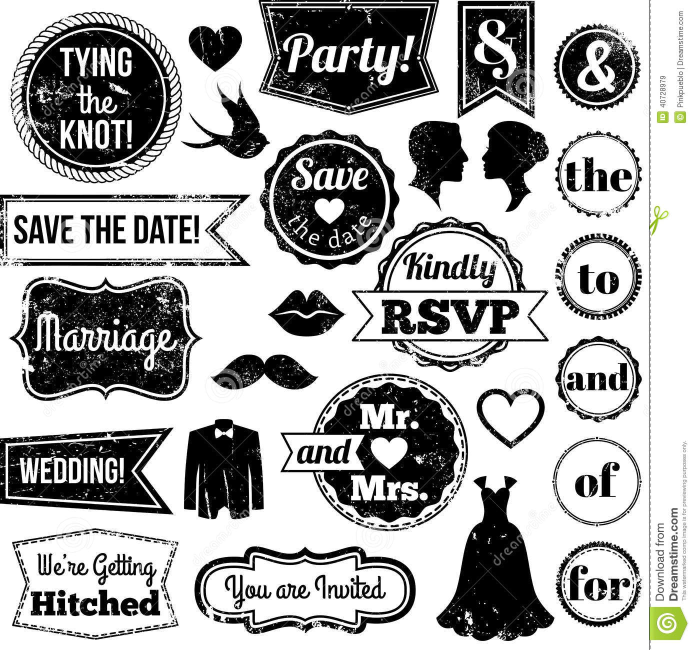 royalty free stock images vector collection vintage wedding themed badges stamps textured image wedding stamps Vector Collection of Vintage Wedding Themed Badges and Stamps