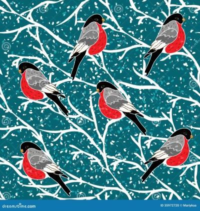 Cute Winter Bullfinch Bird Seamless Pattern Vector Art Download   Auto Design Tech