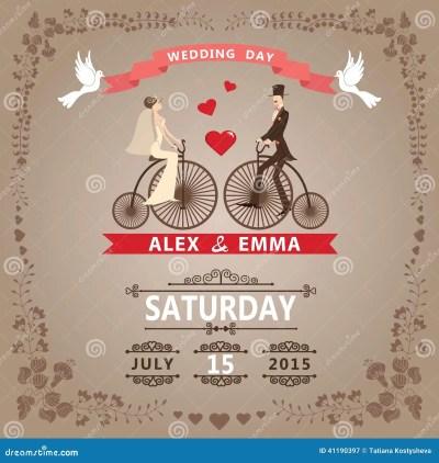 Wedding Invitation With Bride, Groom,retro Bicycle, Floral ...