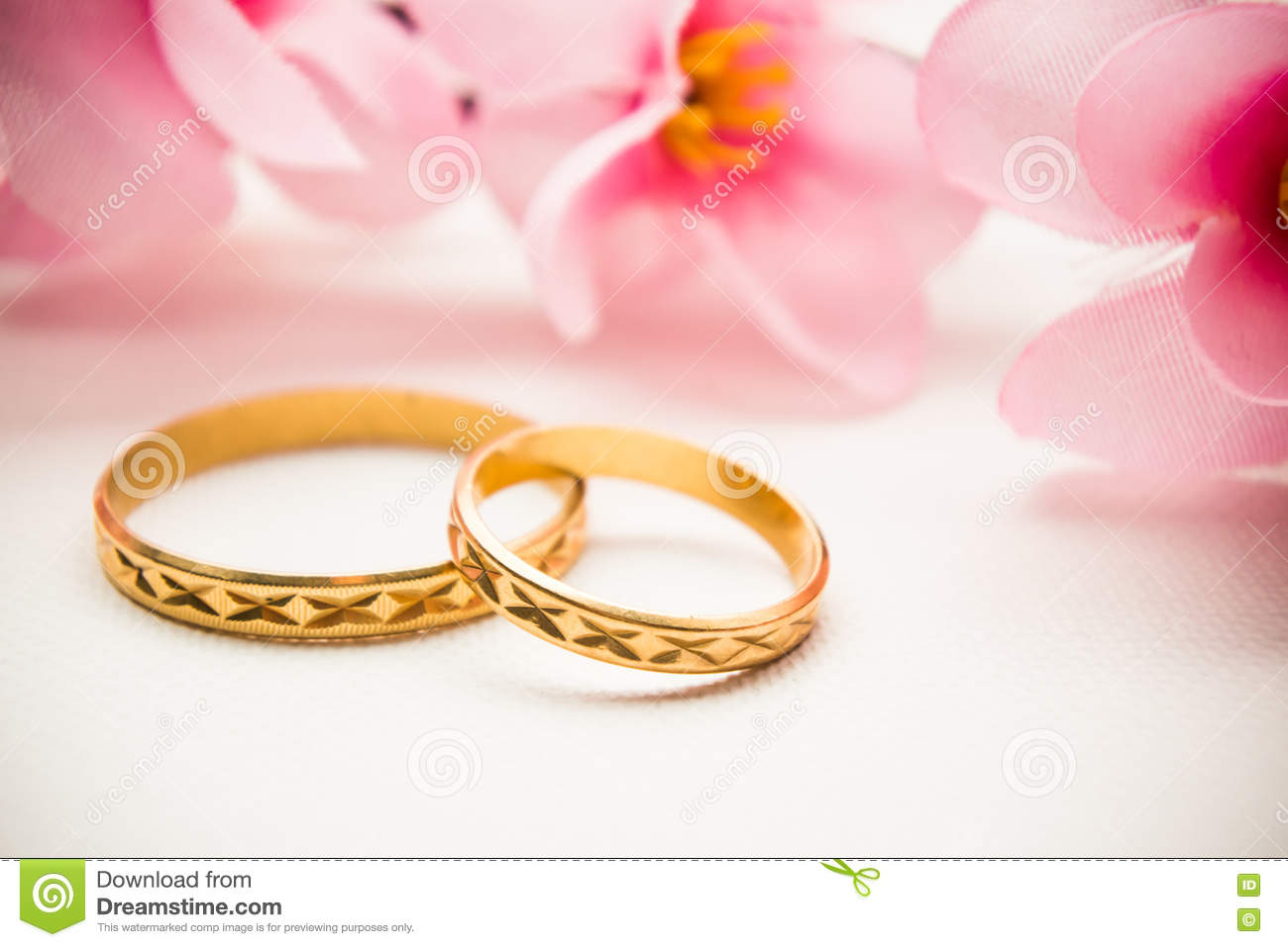 stock photo wedding rings pink flowers background gold soft image pink wedding rings Wedding rings and pink flowers background